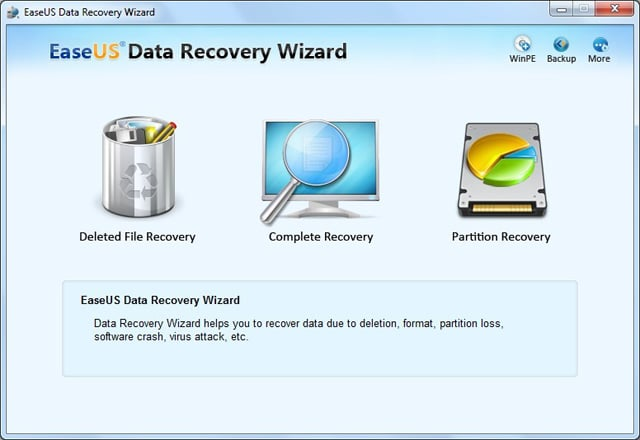 Data Recovery Wizard main interface