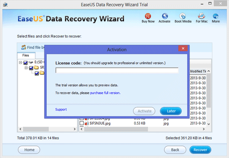 how to activate easeus data recovery wizard trial