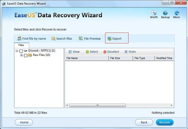 Data Recovery Software - Export Search Result