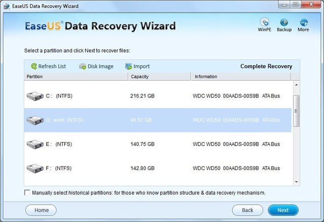 Choose a formatted partition to recover
