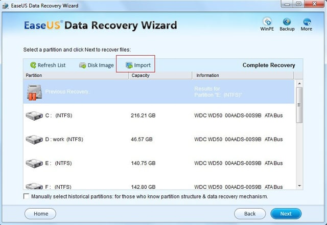 Data Recovery Software - Import Search Result