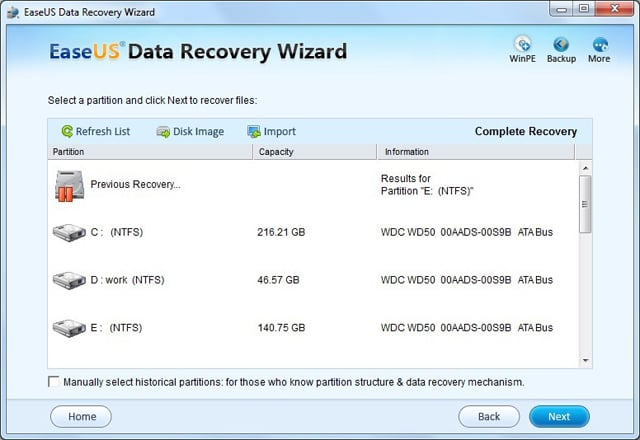 ... search result, click Previous Recovery to continue previous recovery