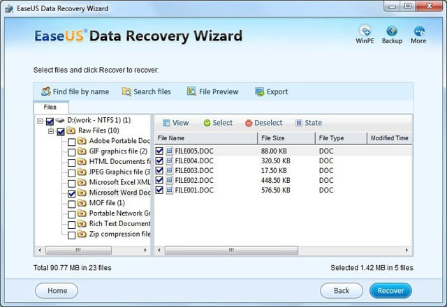 Select files from RAW partition to recover