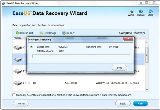 USB external drive recovery software - searching