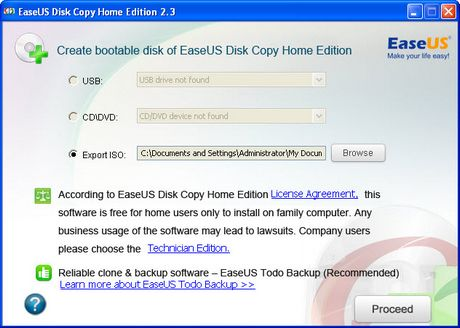 Create bootable disk of EaseUS Disk Copy
