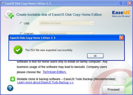 Export ISO file of EaseUS Disk Copy