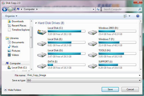Save ISO file of EaseUS Disk Copy