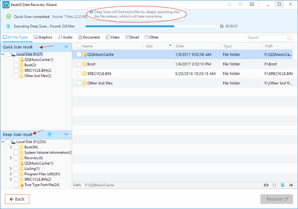 Maxtor hard drive recovery - run quick scan and deep scan