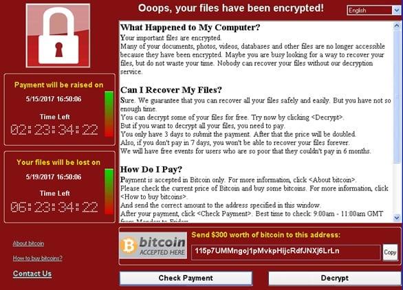 WannaCrypt virus crittografa i file e richiede $ 300 di riscatto.