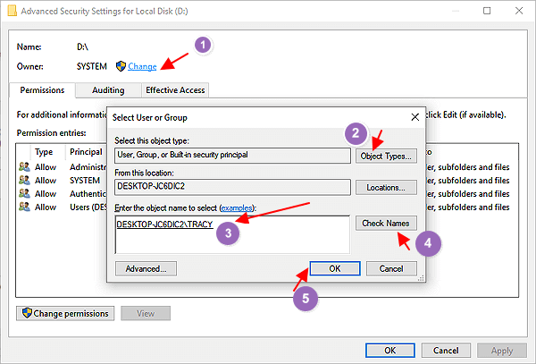Change owner to take a ownership of target files or folders.