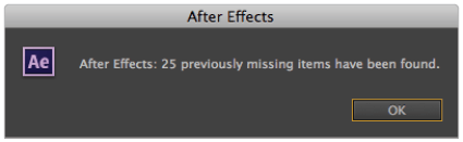 After Effects missing files found