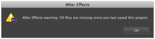 After Effects missing files