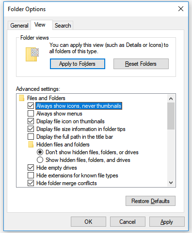 Fix Windows Explorer has stopped working - Show icons, never thumbnails