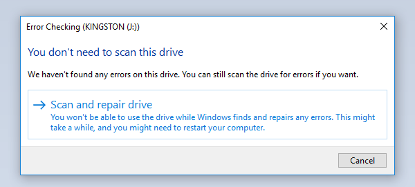 Automatically scan and repair drive- Windows free pen drive repair software