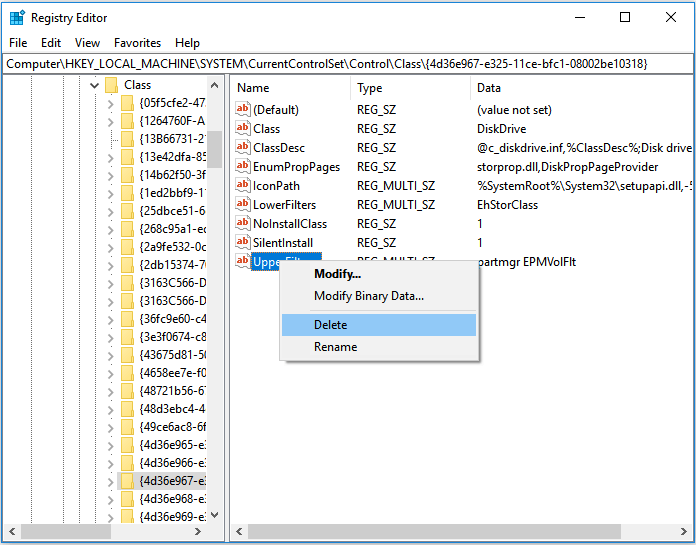 Fix Seagate external hard drive blinking but not detecting - change registry
