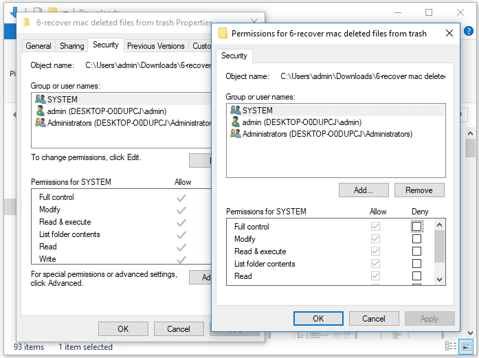 Fix Files/Folders Keeps Coming Back After Deletion - Change Permissions