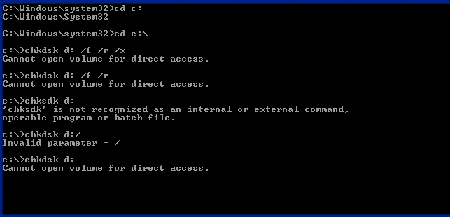 chkdsk cannot open volume for direct access