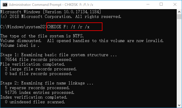 recover files using chkdsk command