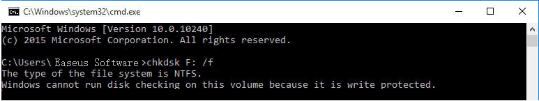 windows cannot run disk checking on this volume because it is write protected