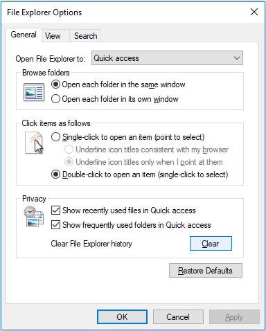 Fix Windows 10 File Explorer Keeps Crashing - clear file explorer history
