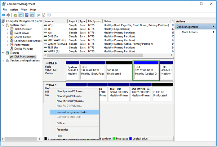How to convert basic disk to dynamic disk
