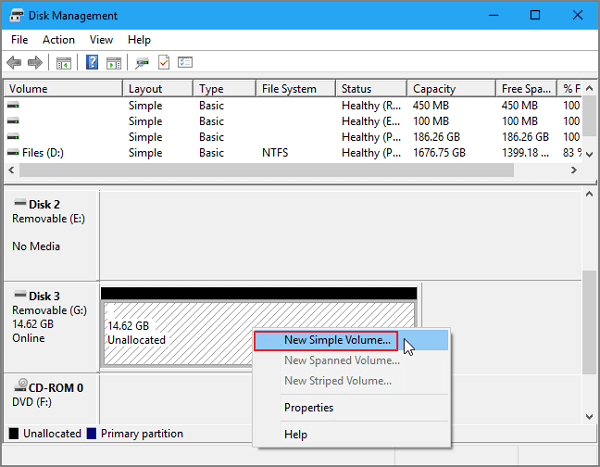 create partition on unallocated space to fix broken usb stick