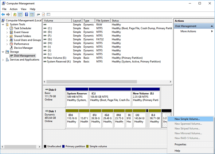 How to create a volume on a dynamic disk