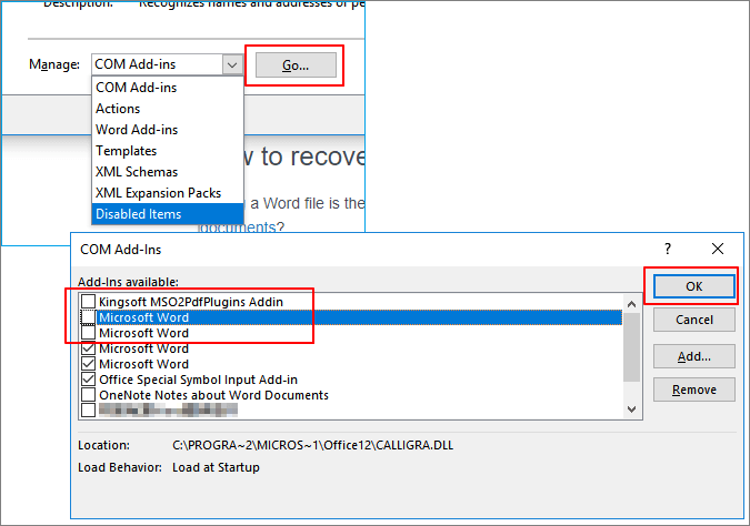 Uncheck add-ins to disable them and make word work.