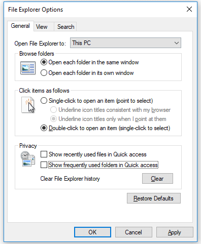 Fix Windows 10 File Explorer Keeps Crashing - disable quick access