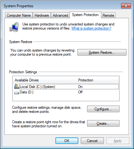 disable system restore in windows 10,8 and7