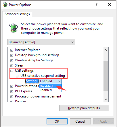 disable usb selective suspend settings