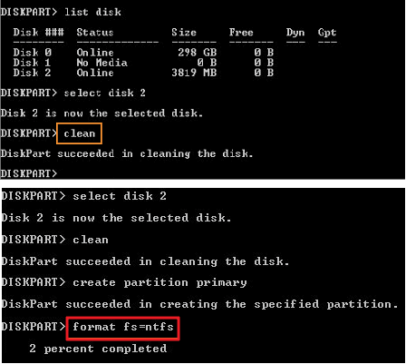 DiskPart clean and format command.