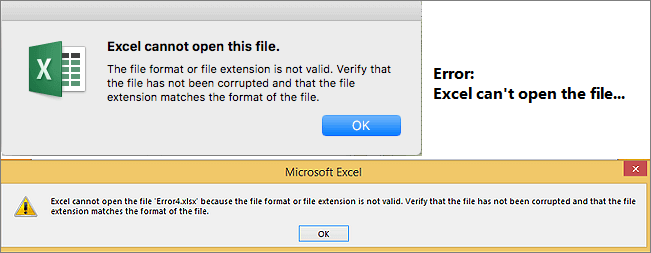 Error - Excel can't open the file.
