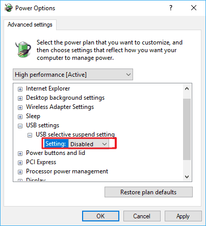 turn off usb selective suspend to fix hard drive disconnecting and reconnecting