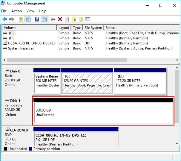 External hard drive display as unallocated in Disk Management