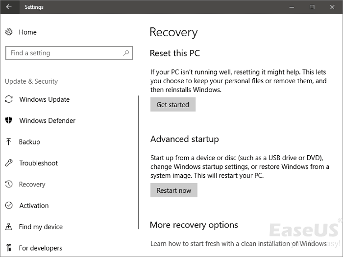 reset windows 10 step 1