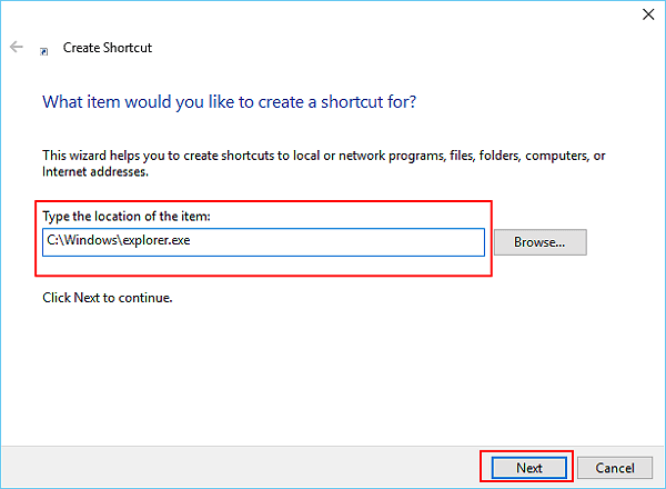 Create new shortcut of File Explorer to fix it won't open issue.
