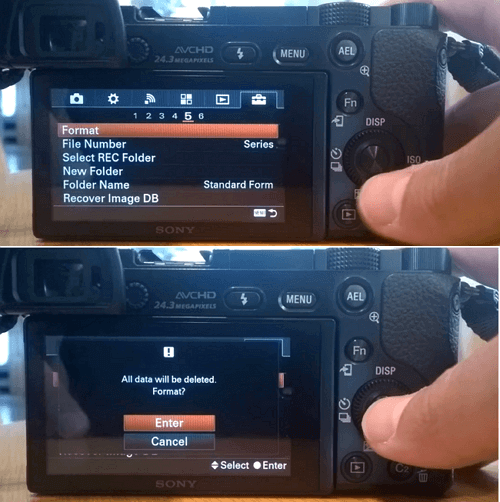 Format memory card on Sony camera.