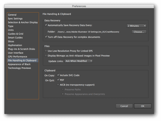 Illustrator data recovery preferences