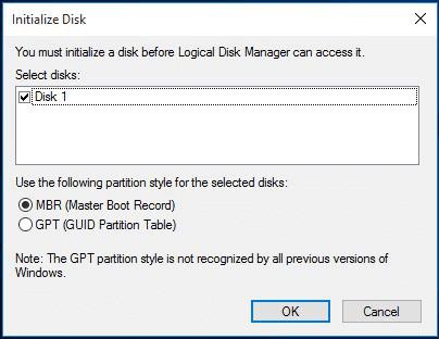 Inizializzare il disco rigido per risolvere il disco sconosciuto non inizializzato.