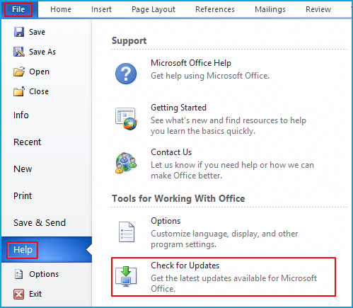 Find Office update in old version.