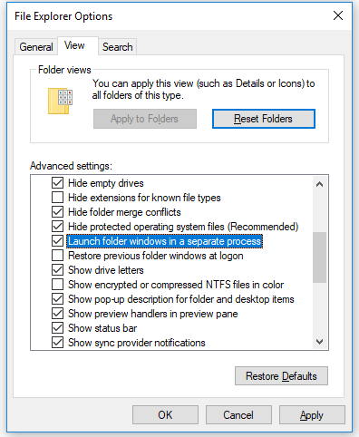 Fix Windows 10 File Explorer Keeps Crashing - launch folders in separate process