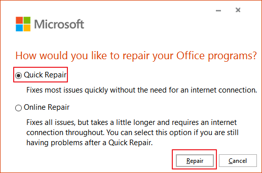 fix Microsoft Outlook has stopped working - way 4