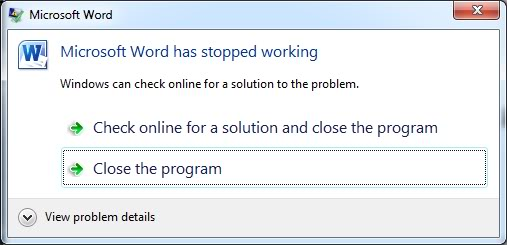 microsoft word has stopped working