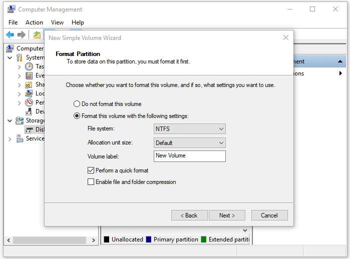 Create Volume after converting MBR to GPT disk