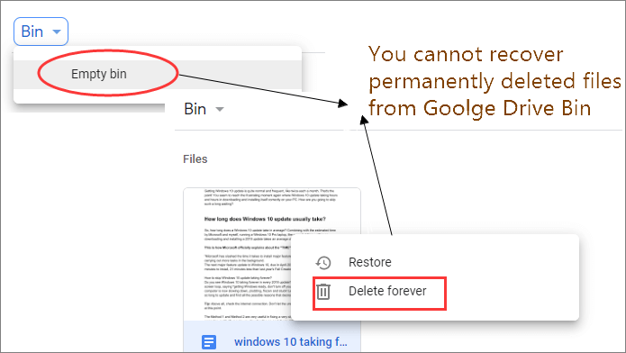 permanently deleted files from google drive by delete forever and empty bin