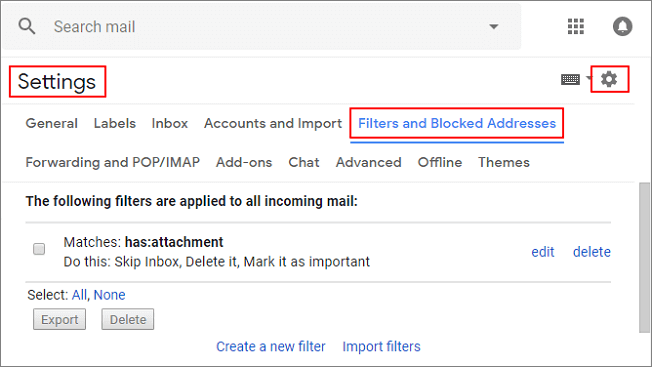Restore deleted email file from Filter.