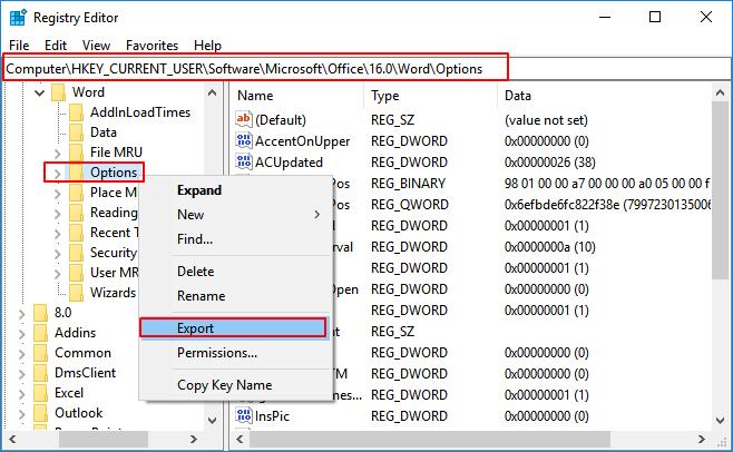 Remove not working Word registry keys.