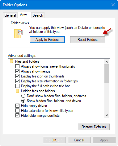 reset folders in Windows 10 quick access so as to fix quick access files folders missing problem