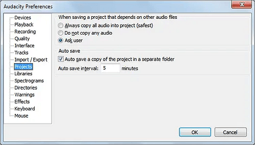 Enable AutoSave feature in Audacity.